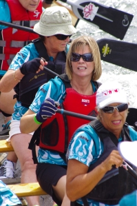 Karalee on a dragon boat