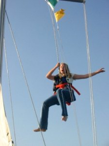 jocelyn swinging on boat