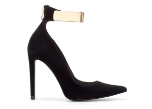 Party shoes - black high heeled courts with gold ankle strap by Zara